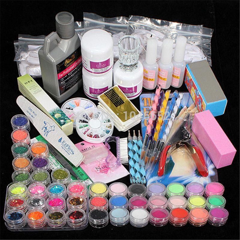 Professionnel 42 Acrylique Liquide Poudre Primer Clipper Glitter Fichier nail art Conseils Outil pinceaux Set Kit nouveau BTT-94
