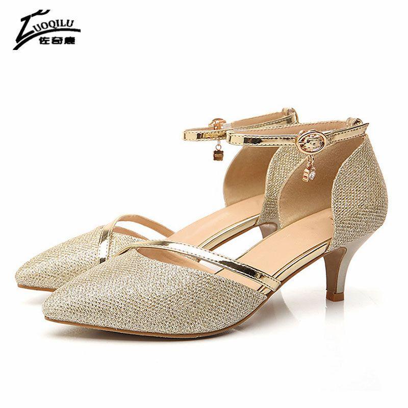 Sexy Shoes Woman High Heels Wedding Shoes Birde Rhinestones Gold Silver High Heels Women Shoes Summer Sandals ladies 2018 #7