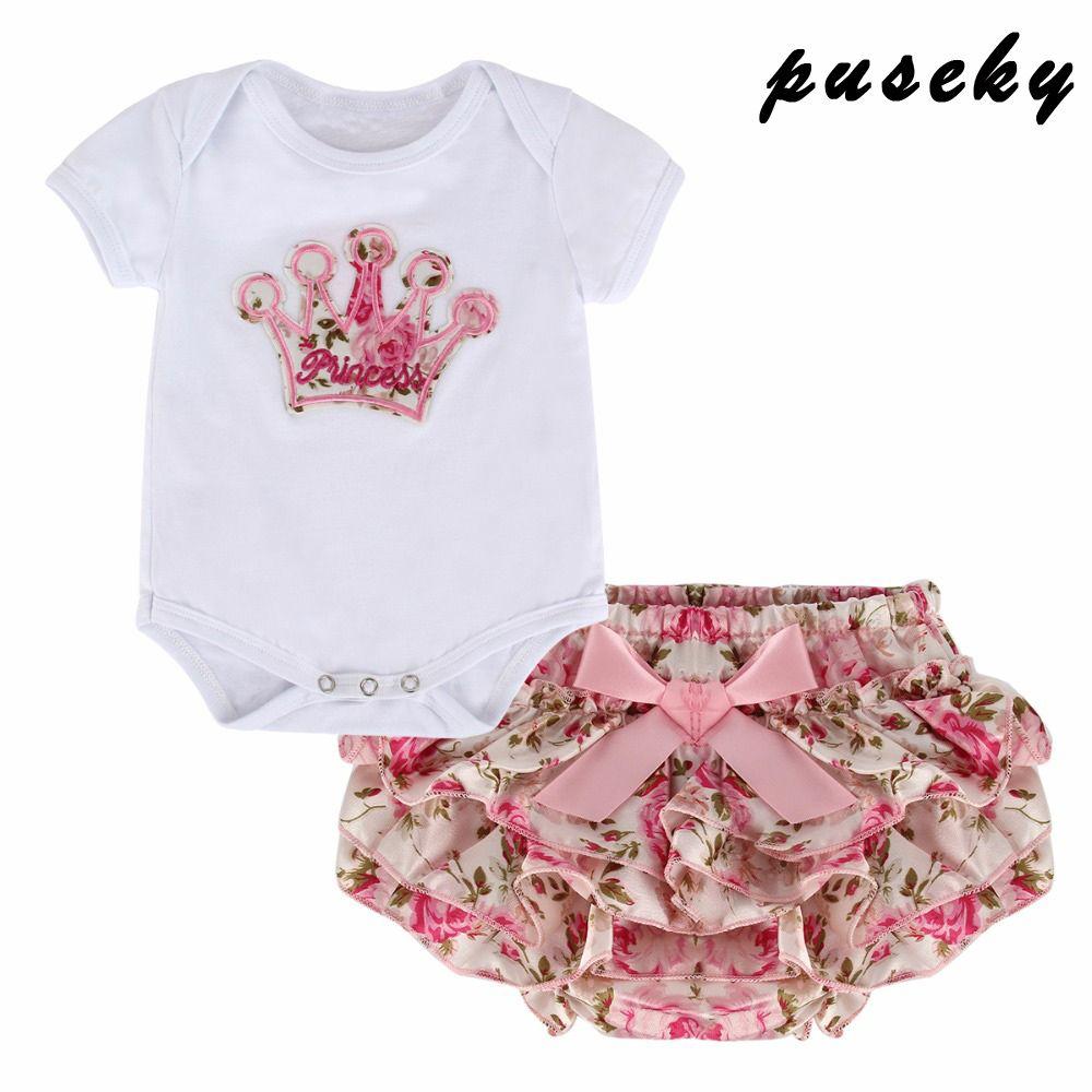 Puseky 2 pièces couronne infantile bébé fille vêtements ensemble body court été nouveau-né bébé fille vêtements ensemble Bebe Costume premier anniversaire