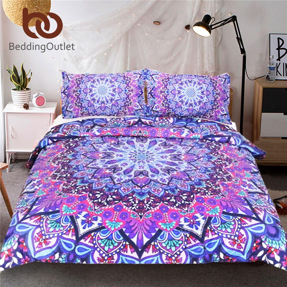 BeddingOutlet Purple Glowing Mandala Duvet Cover With Pillowcases 3pcs Super Soft Boho Bedclothes Mandala Luxury King Bedding