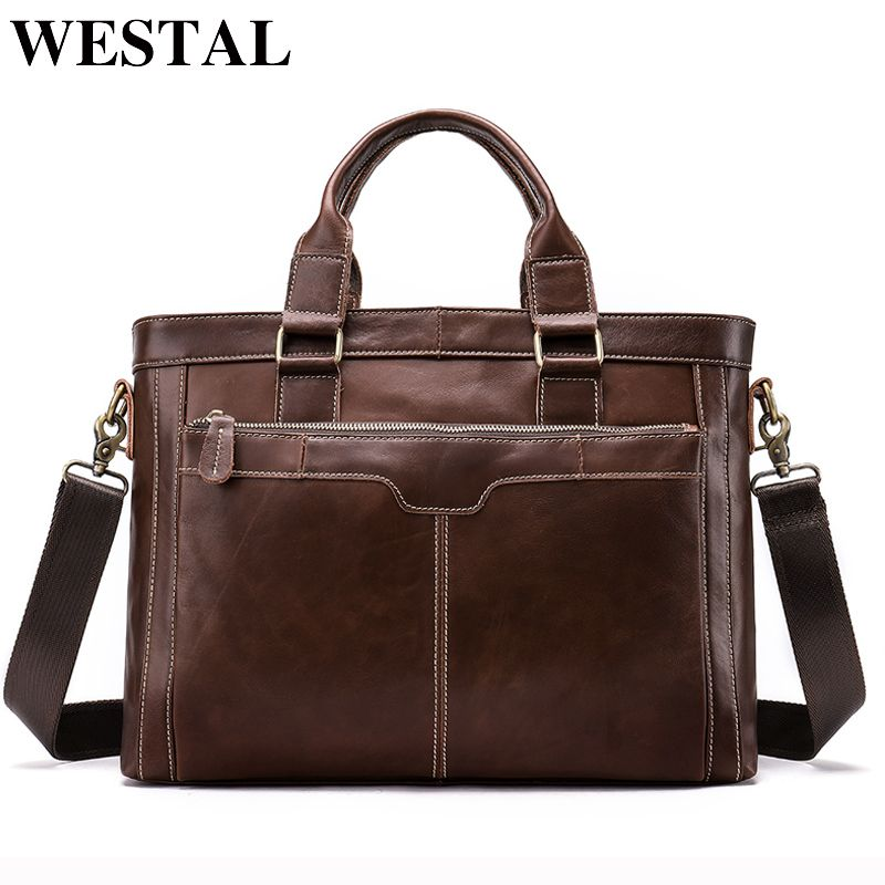 WESTAL Messenger Bag Men Shoulder Bags Man Handbags Totes Genuine Leather Crossbody Bags men's bag Leather Laptop Briefcases