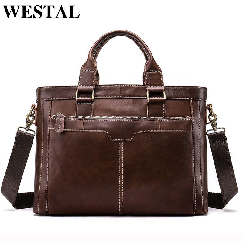WESTAL <font><b>Messenger</b></font> Bag Men Shoulder Bags Man Handbags Totes Genuine Leather Crossbody Bags men's bag Leather Laptop Briefcases
