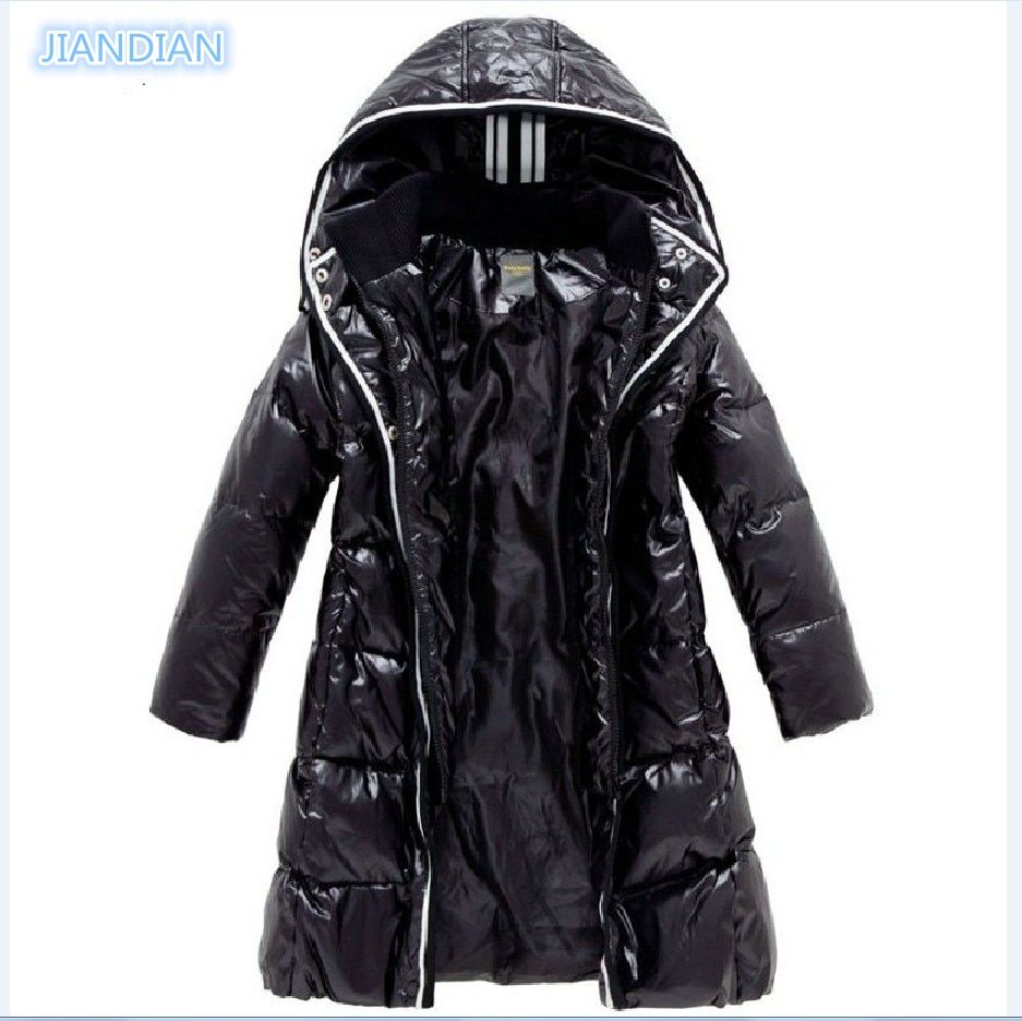 NEW 2017 Fashion Girls Winter Coats Female Child Down Jackets Outerwear Shiny Waterproof Medium-long Thick 90% Duck Down Parkas