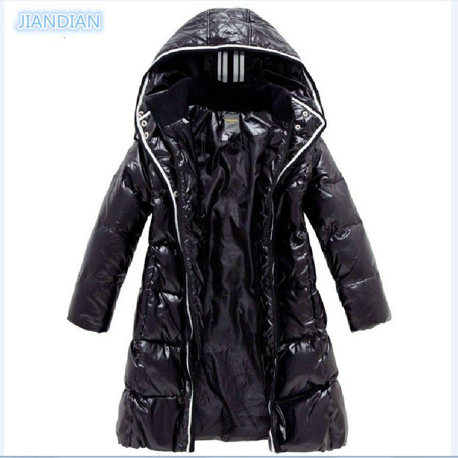 NEW 2017 Fashion Girls Winter Coats Female Child Down Jackets Outerwear Shiny Waterproof Medium-long Thick 90% Duck Down Parkas