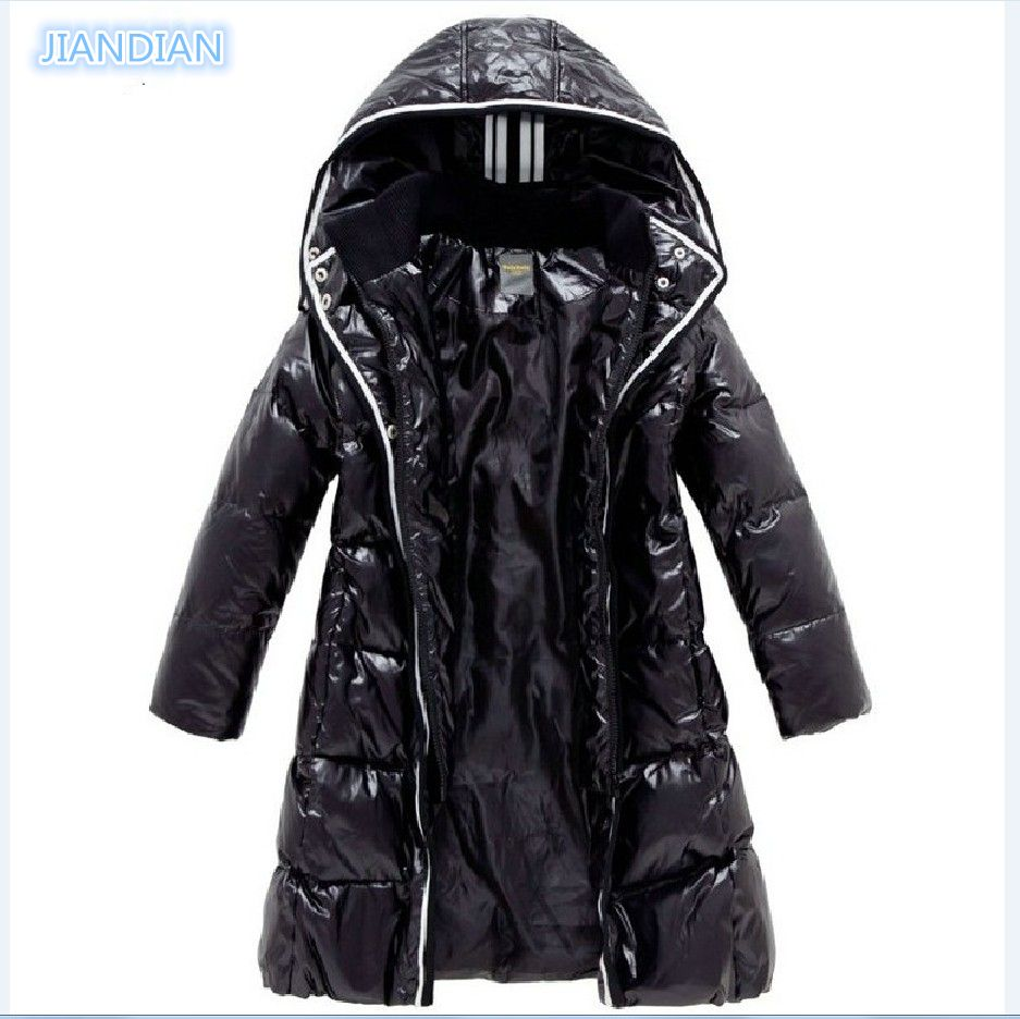 NEW 2017 Fashion Girls Winter Coats <font><b>Female</b></font> Child Down Jackets Outerwear Shiny Waterproof Medium-long Thick 90% Duck Down Parkas