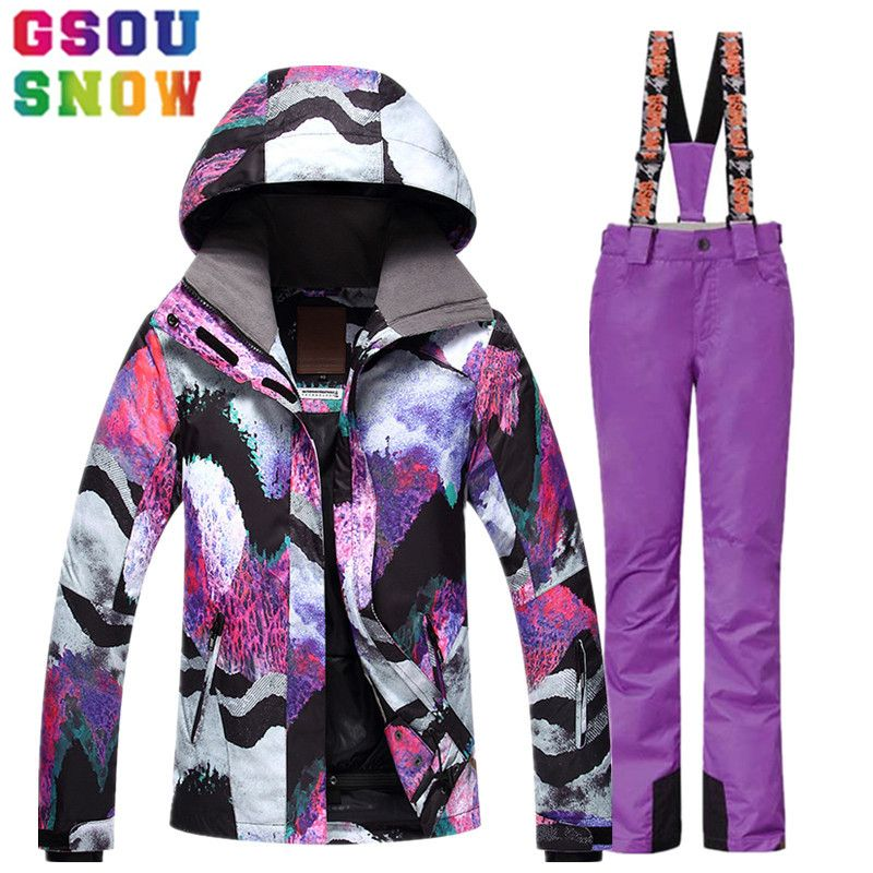GSOU SNOW Ski Suit Women Ski Jacket Pants Winter Outdoor Cheap Skiing Suit Waterproof Snowboard Jacket Pants Windproof Clothing