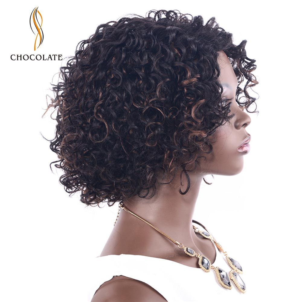 CHOCOLATE Afro Kinky Curly Human Hair Wig For Black Women Remy Human Hair Brazilian Kinky Curly Wig Ombre Colors 2 Pieces/lot