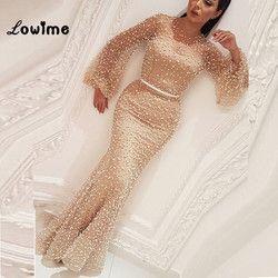 Robe De Soiree Arabisch Champagne Formale Abendkleid Nahen Osten Kaftan 2018 Perle Abendkleider Mermaid Party Kleider Abiye Kleid