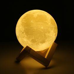 Перезаряжаемая 3D лампа с изображением Луны, 2 цвета, сенсорный выключатель для спальни, книжный шкаф, ночник, домашний декор, креативный пода...