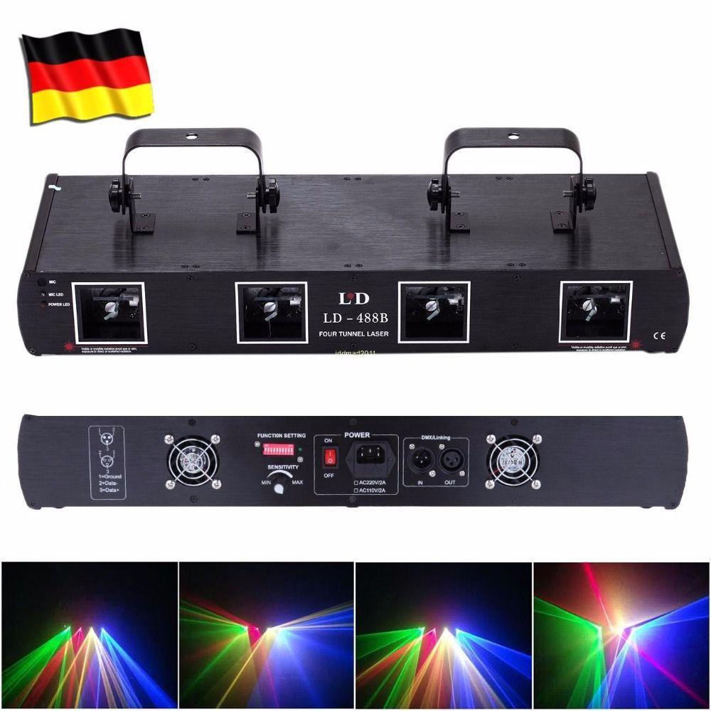 (Ship from EU) DJ Laser Light DMX 760mW RGYB 4 Lens Beam 7CH Stage Disco Party Lighting Show