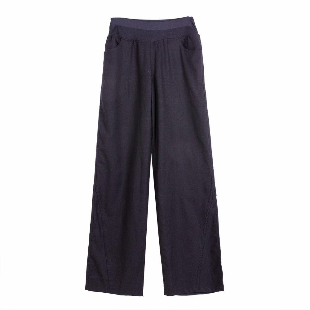 Mieux tissu Printemps Lin Pantalon Élastique taille pantalon large de jambe occasionnels pantalons pantalon droit lâche pantalon à pattes d'éléphant #2013