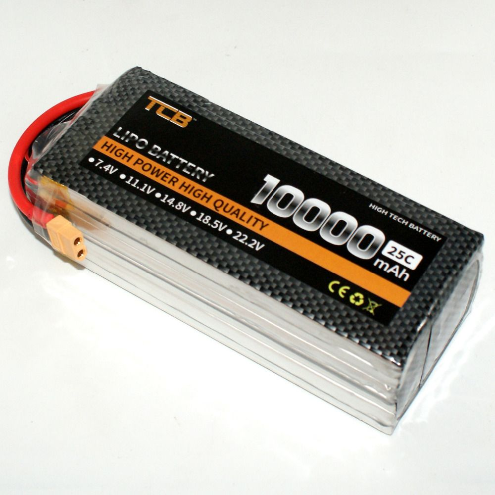 TCB RC LiPo Battery 4S 14.8V 10000mAh 25c for RC Airplane Helicopter Drone Car Boat 4s Batteria Free Shipping