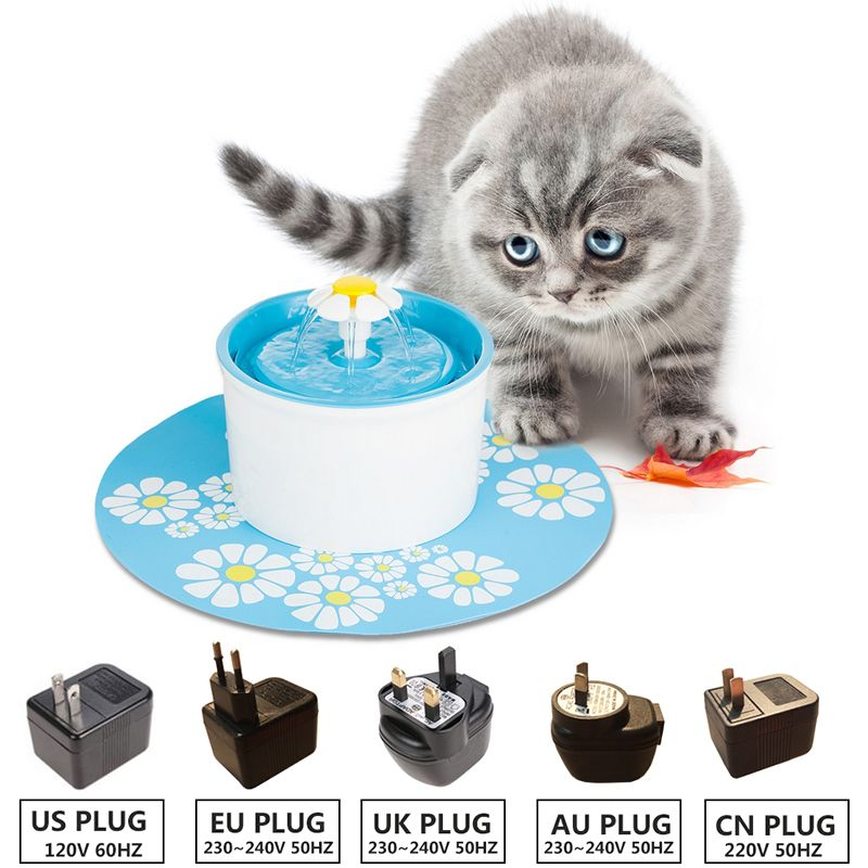 110 220V Electric Cat Pet Fountain 1.6L Automatic Dog Cat Water Feeder Drinking Bowl Pet Drink Cat Water Dispenser Blue Green