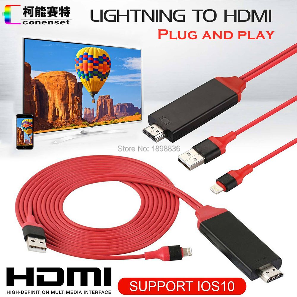 AirPlay 8 pin <font><b>Lightning</b></font> to HDMI HDTV AV Cable Adapter for iOS 10 11 iPhone X 5 SE 6S 7 8 Plus iPad Air 2 Pro mini iPod