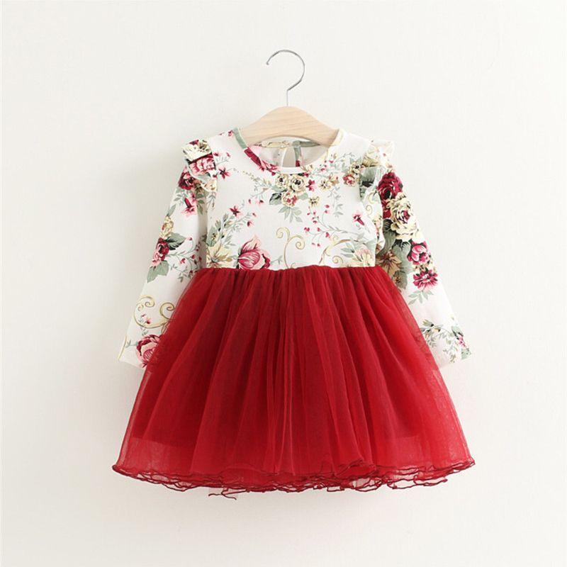 Enfants Robe Automne Bébé Filles floral Imprimé Princesse Robes Robes enfant filles Vêtements Enfants Filles rouge De Noël Robes