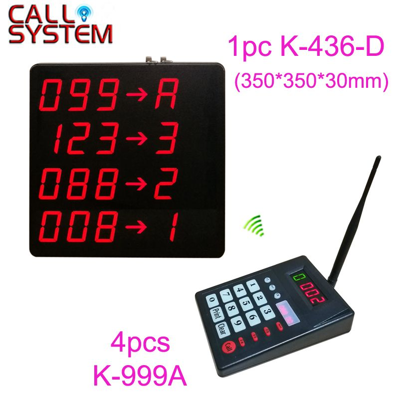 4 keyboard and 1 Big Screen with 4-lines Show Number with Counter Wireless Restaurant Hospital Queue Calling Number System