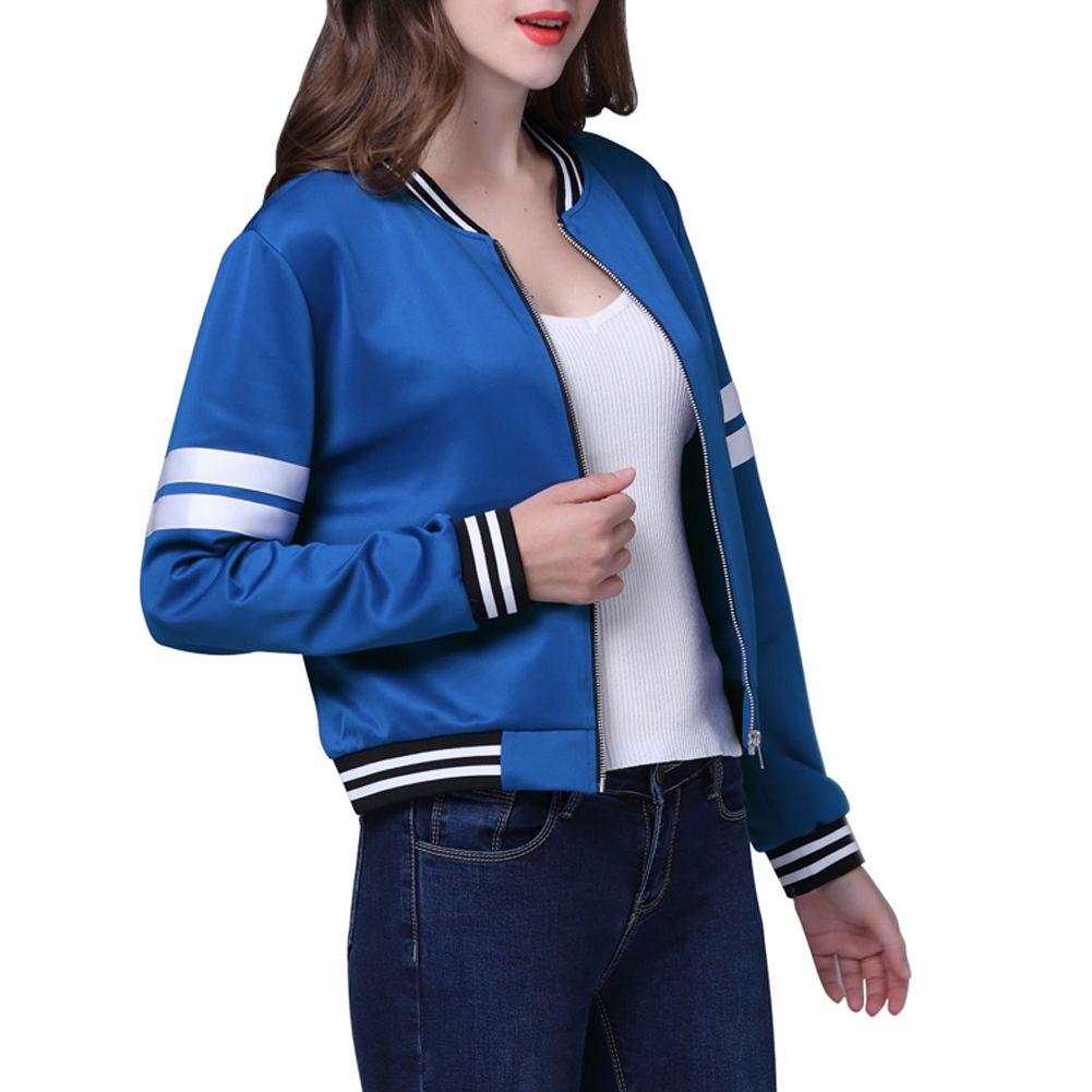 Для женщин Повседневное Бейсбол куртка Европейский Стиль Для женщин Женский равномерное куртка с круглым воротом Для женщин с длинными рук...