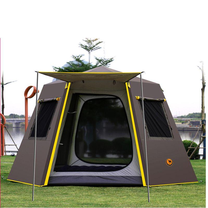 UV hexagonal aluminium pol automatische Outdoor camping wilde große zelt 3-4persons markise garten pergola 245*245*165 CM
