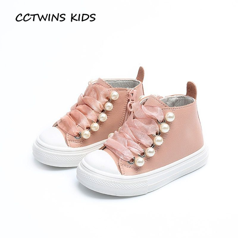 CCTWINS KIDS 2017 Toddler Casual Black High Top Pearl Shoe Baby Girl Fashion Pu Leather Brand Beige Lace Up Sport Flat F1853