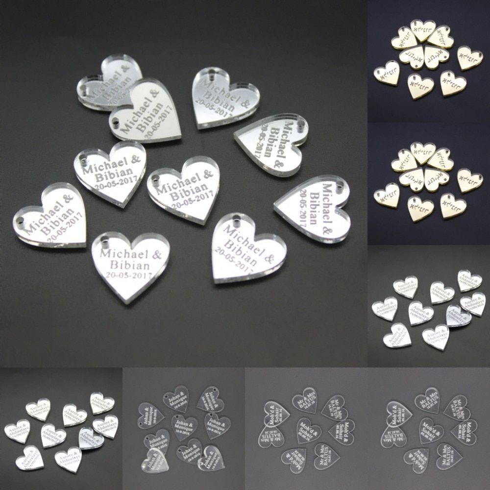 60 Pieces Personalized Engraved Mini Love Heart Wedding Table Decoration Favors Customized