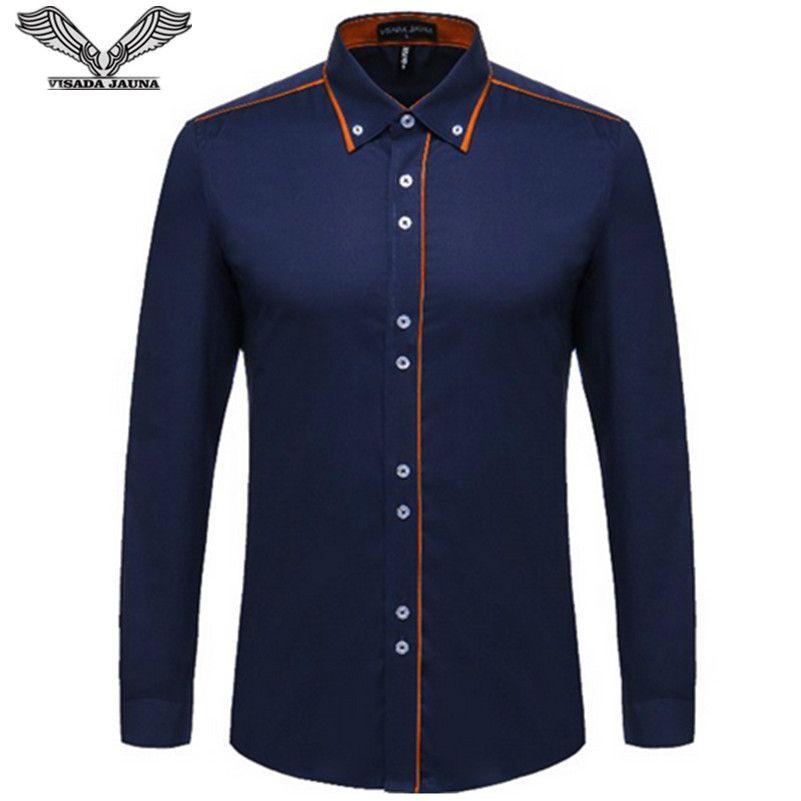 VISADA JAUNA Européenne Taille Hommes Chemise 2017 Nouveau 100% Coton Mince D'affaires Décontractée Marque de Vêtements À Manches Longues Chemise Homme N356