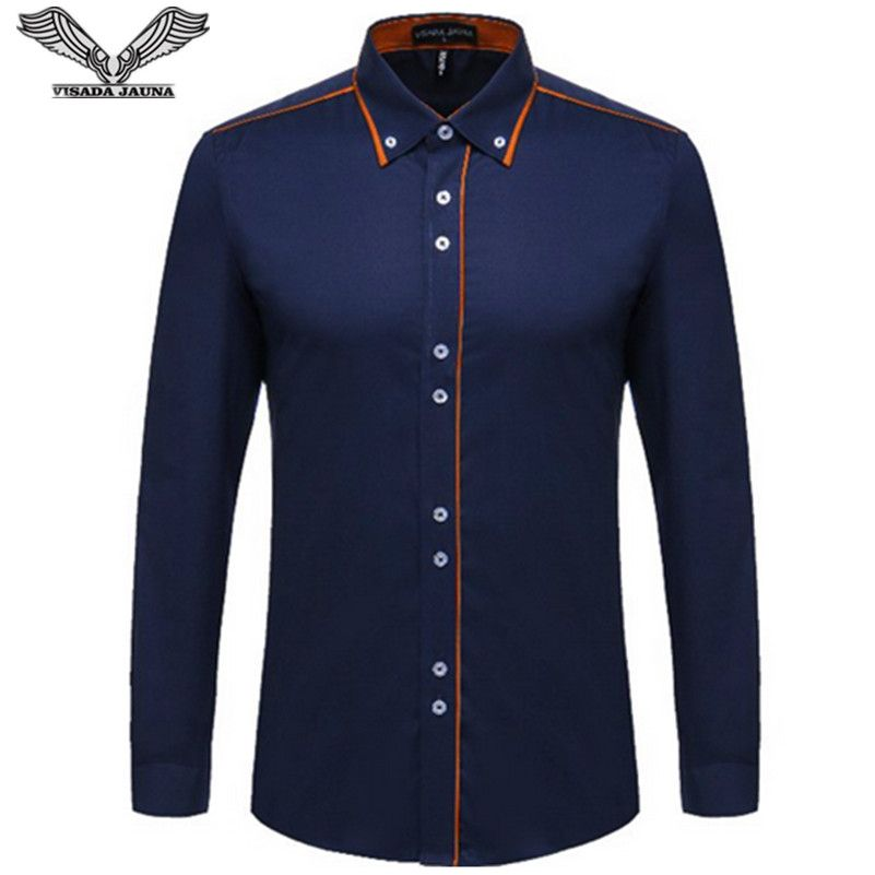 VISADA JAUNA European Size Men's Shirt 2017 New 100% Cotton Slim Business Casual Brand Clothing Long Sleeve Chemise <font><b>Homme</b></font> N356