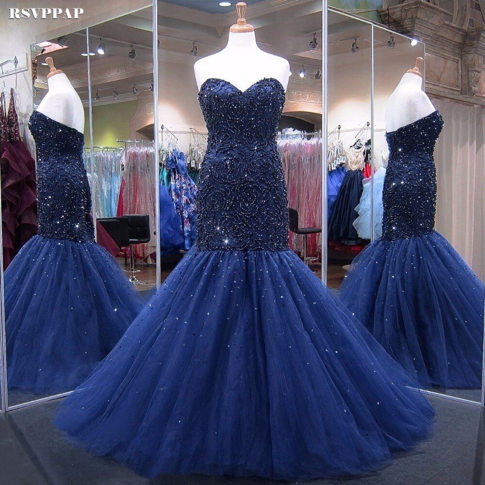 Long Evening Dress 2018 Real Mermaid Sweetheart Beaded Crystals Women African Navy Blue Formal Evening Gowns robe de soiree