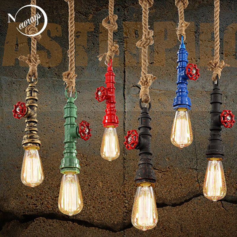 DIY loft retro industrial vintage Steampunk water Pipe colorful pendant lamp e27 hemp rope light for bar Restaurant dining room