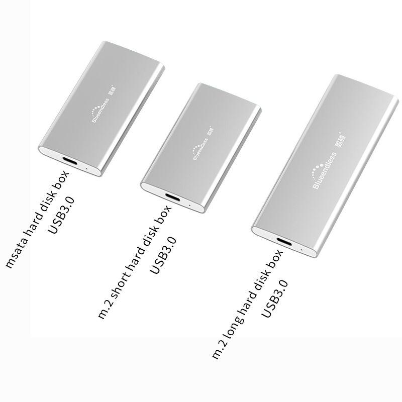 M.2 portable ssd hard disk cases type c usb 3.0 msata 2242/2260/2280 hard drive enclosure silver aluminum hdd caddy blueendless