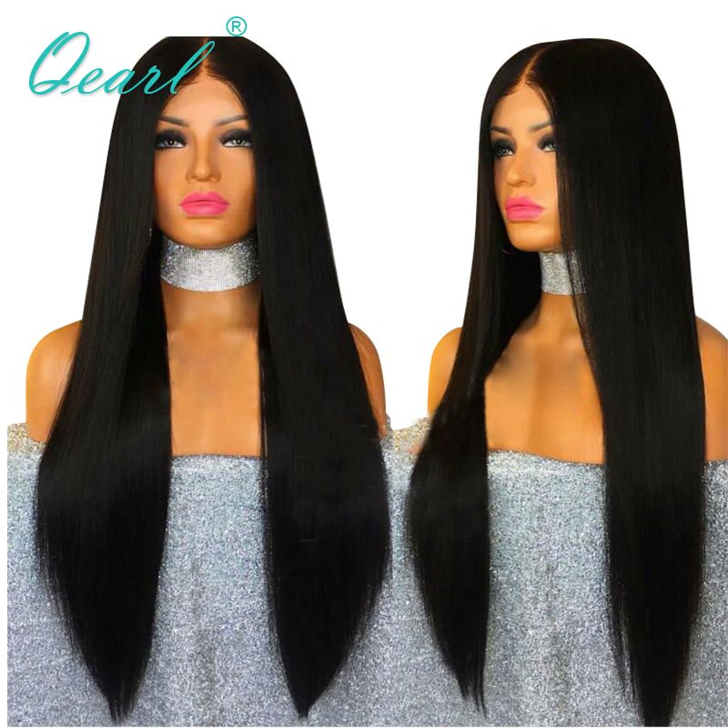Qearl Long Lace Front Human Hair Wigs 22-28in Straight Brazilian Virgin Hair Glueless Lace Wig Middle Part Baby Hair Black Women