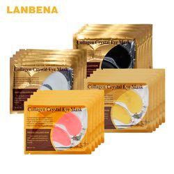 LANBENA 24K Gold Collagen Eye Mask Eye Patches Dark Circle Puffiness Eye Bag Anti-Aging Wrinkle Firming Skin Care 10PCS=5 Pair