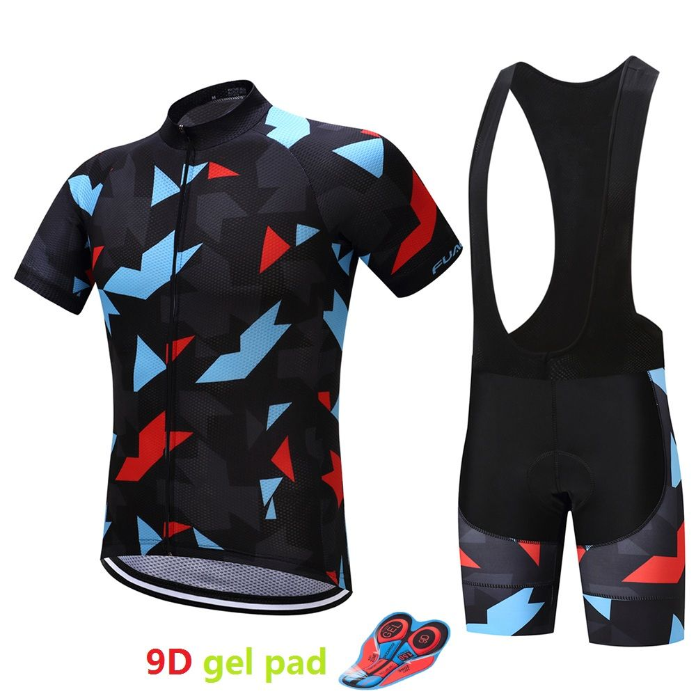 Pro Men's bicycle clothes maillot mtb 9D gel pad Cycling jersey set China 2018 bike clothing kit short wear skinsuit male suit