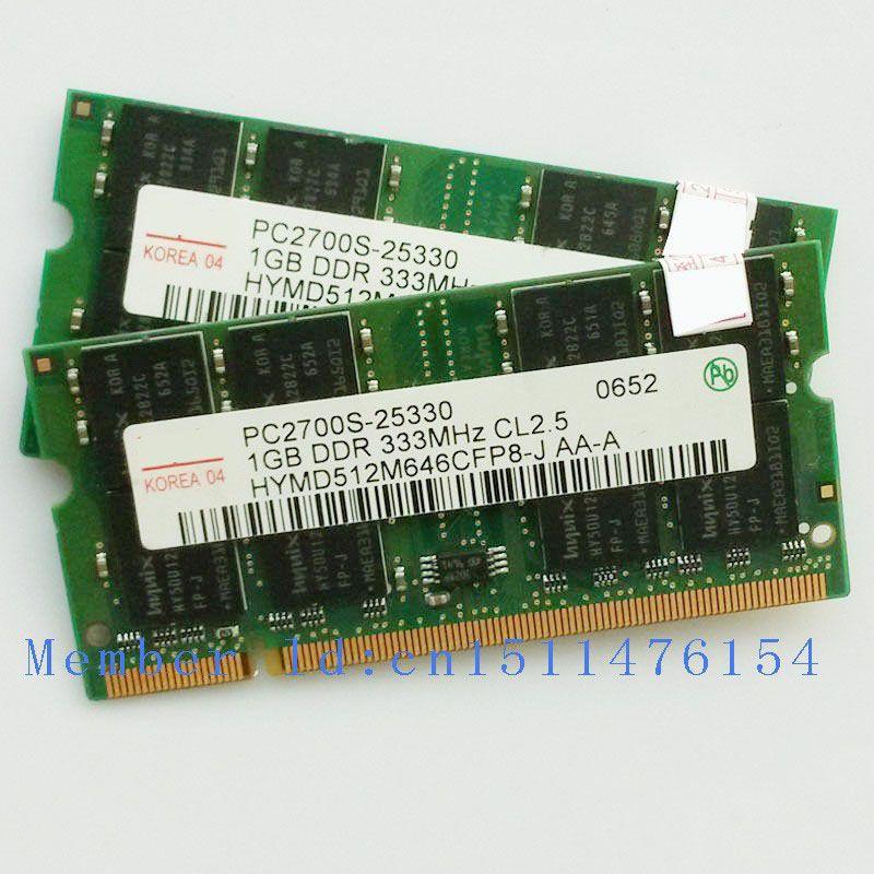 2 GB 2x1 GB PC2700 DDR333 200PIN mémoire Portable ordinateur portable DDR RAM D'origine authentique SODIMM Ordinateur Livraison gratuite