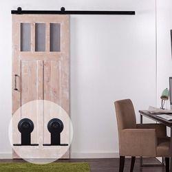 LWZH 7ft 9ft American Style Wooden Sliding Barn Door DIY Hardware Kit Black Steel T Shaped Roller Track Hardware for Single Door