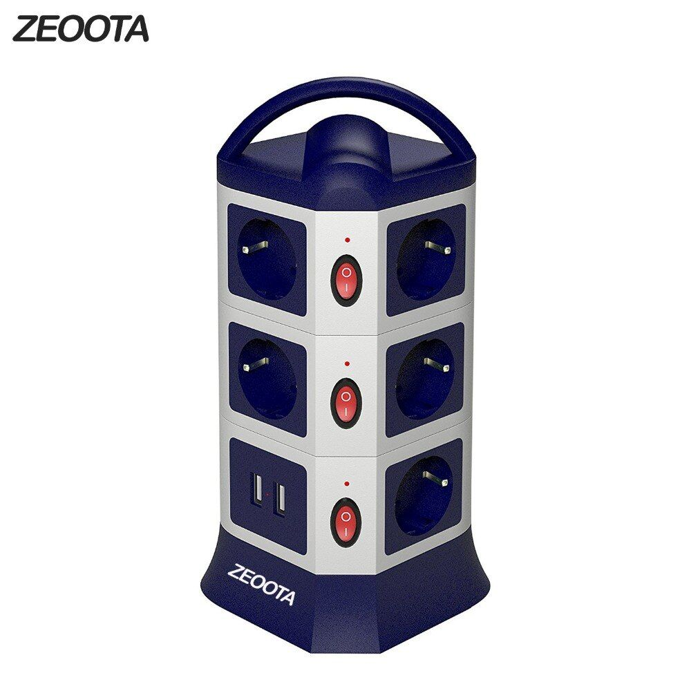 Tower Power Strip USB Outlets 7/11 AC EU Outlets Socket with USB 2 Ports Individually Switch 1.8m/6ft Retractable Extension Cord