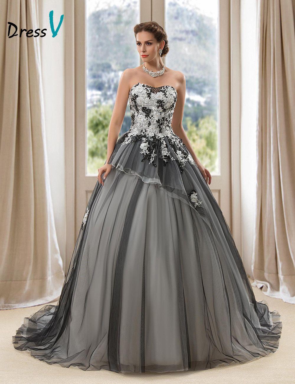 Vintage BlackWedding Kleider Ballkleid Brautkleider Liebsten Lace-Up Appliques Pailletten Robe De Soiree Brautkleider Echt Bild