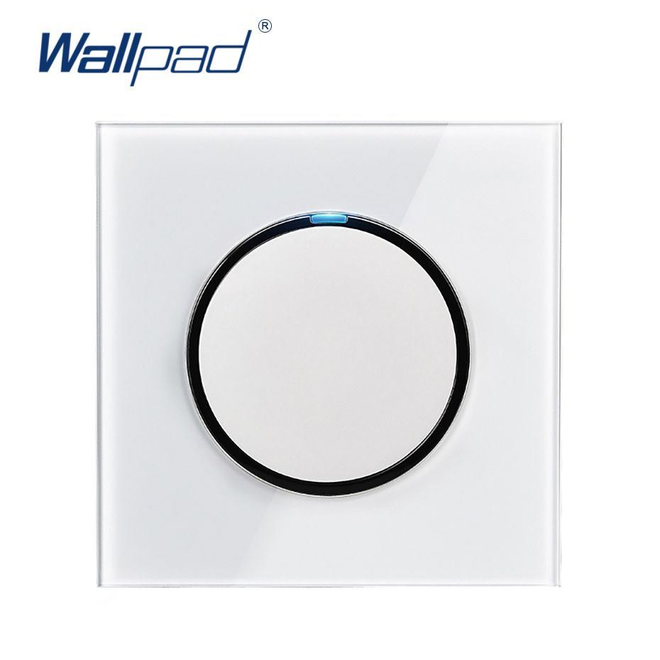 Wallpad 2019 New Arrival 1 Gang 1 Way Random Click Push Button Wall Light Switch With LED Indicator Crystal Glass Panel 16A
