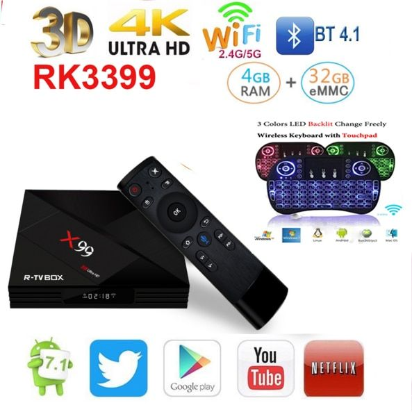 tv box 2018 X99 tv box RK3399 Android 7.1 4GB RAM emmc 32GB ROM With Voice remote 5G WiFi Super 4K bluetooh vs tx3 mini