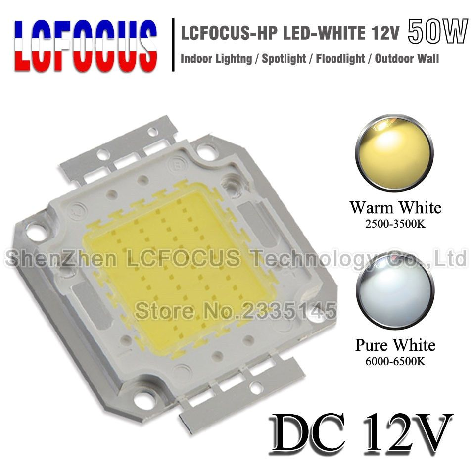 DC 12 V haute puissance LED puce COB 1 W 3 W 5 W 10 W 20 W 30 W 50 W 100 W SMD Diode lumière froid blanc chaud pour 1 3 5 10 50 100 W Watt LED