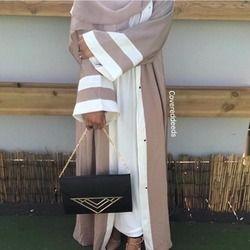 Мусульманское Полосатое платье абайя хиджаб туника, кардиган длинные халаты кимоно Юба Рамадан арабтурецкая Тобе Исламская, молитвенная о...
