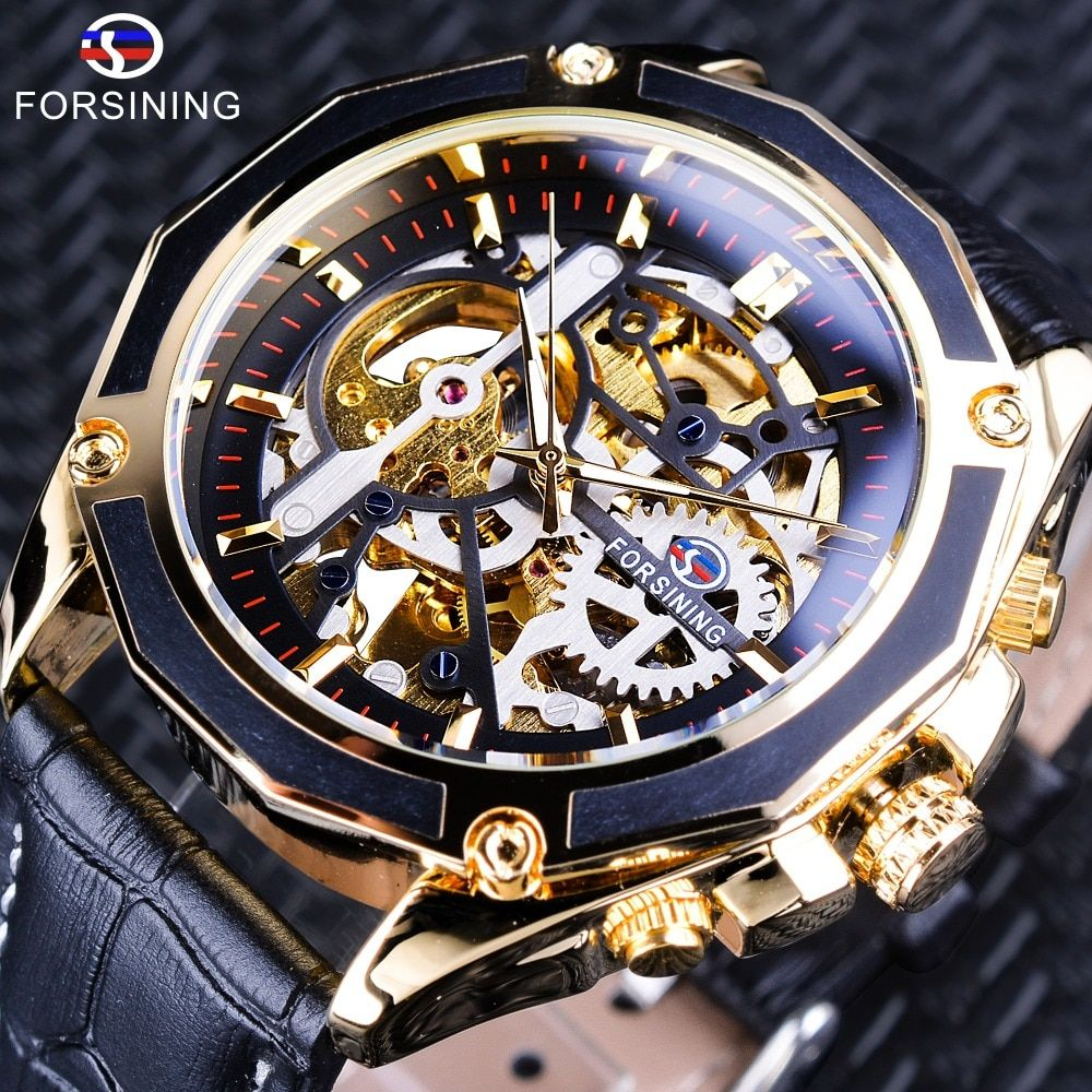 Forsining Transparent Case Gear Movement Steampunk Men Automatic Skeleton Watch Top Brand Luxury Open Work Design Self Winding