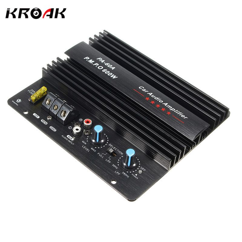 KROAK 12V 600W Mono Car Audio Power Amplifier Powerful Bass Subwoofers Amp PA-60A Black Car Amplifier Board