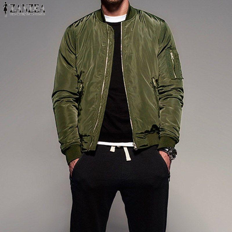 ZANZEA 2017 Ретро Мужская с длинным рукавом Zip-Up Bomber Jacket Бейсбол Армии пальто Верхняя одежда
