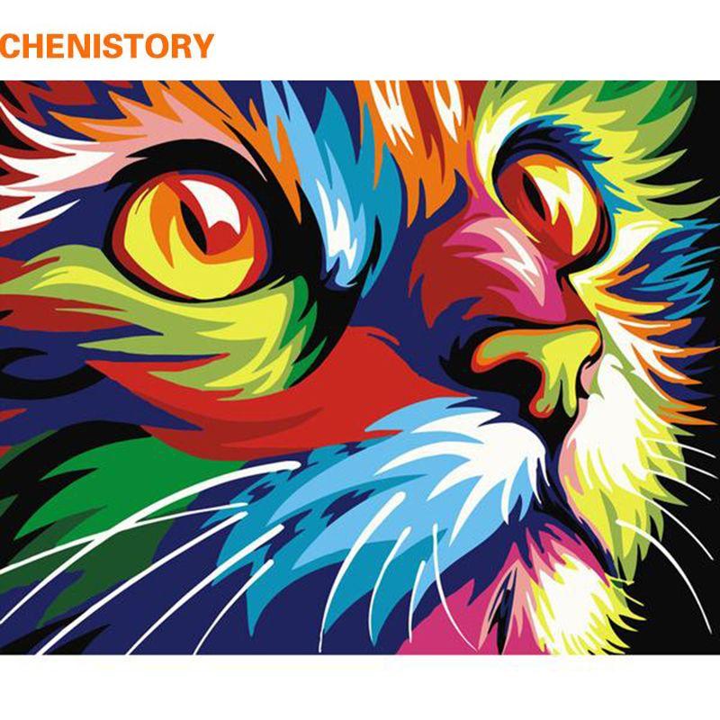 CHENISTORY Sans Cadre Chat Animaux BRICOLAGE Peinture Par Numéros Kits Coloration Par des Numéros Uniques Cadeau Accueil Wall Art Décor 40x50 illustration