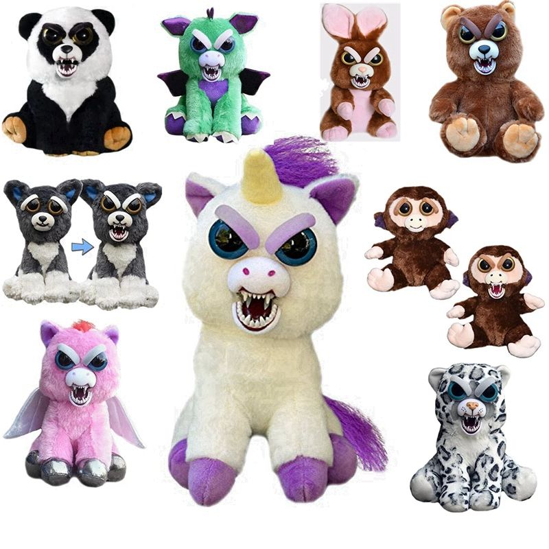 Feisty Pets Unicorn Teddy Bear Cat Elephant Stuffed  Toys Funny Expression Plush Panda Toys Doll For Baby Christmas GIFTS