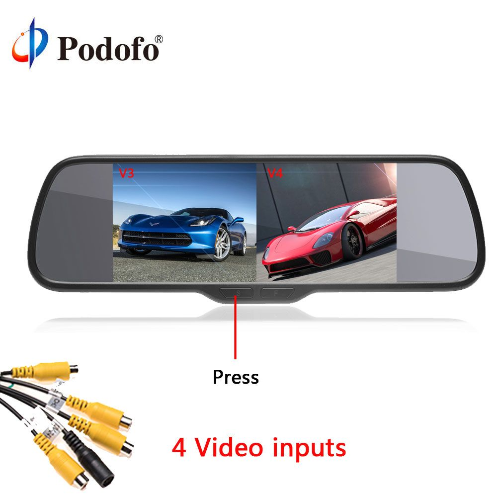 Podofo Car HD Rearview Mirror Monitor 8'' Split Screen Auto Parking Assistance LCD Display DC 12V for Reversing Camera System