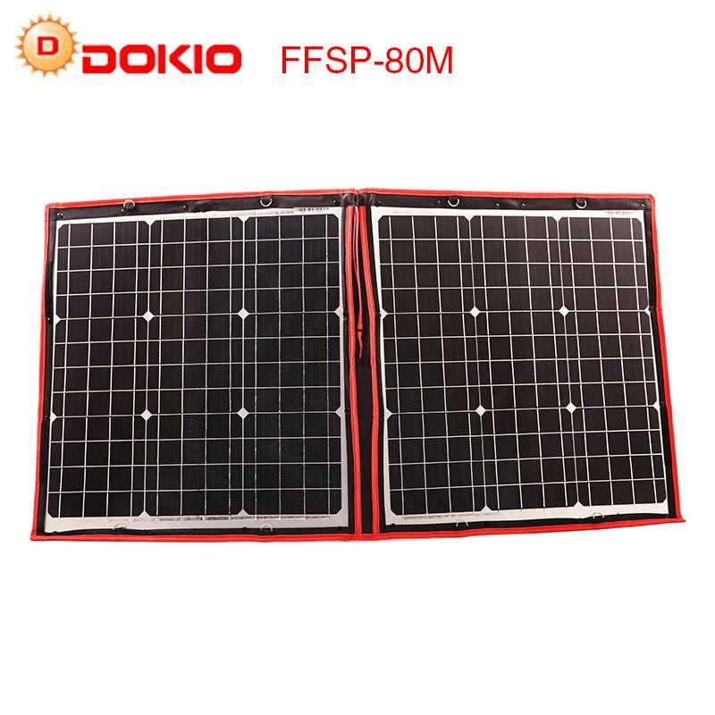 Dokio Flexible Solar Panels travel Foldable 80W att, beautiful, light,outdoor travel portable  solar charg,for women , Patented