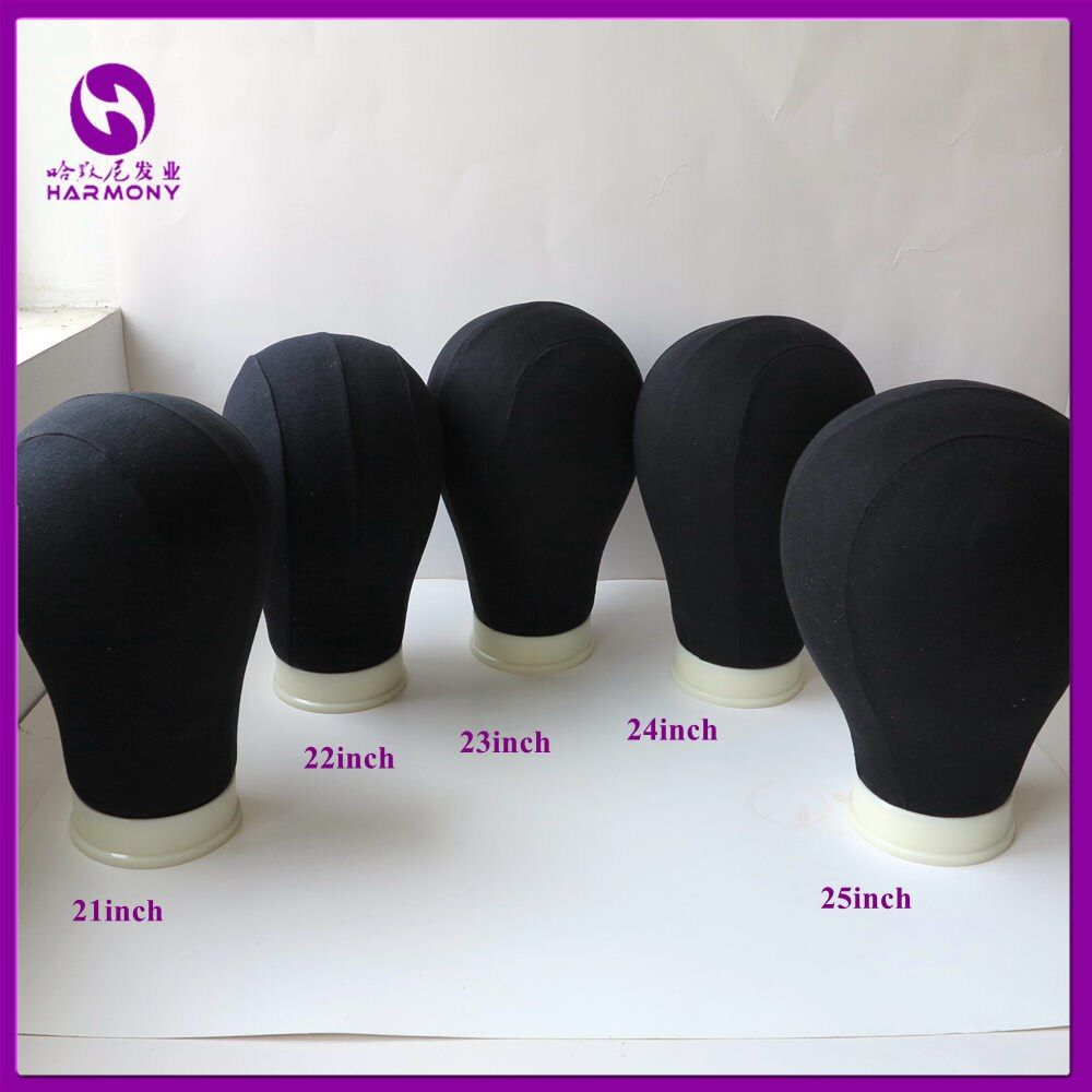 1 unidades negro 21 ''25'' lienzo bloque maniquí algodón cabeza para hacer pelucas