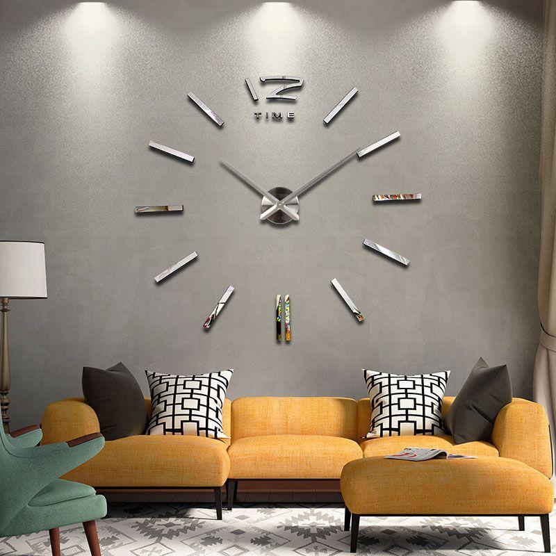 Bricolage horloge murale salon nouvelle acrylique quartz montre 3d horloges reloj de pared décoration de la maison en métal chaud mur autocollant