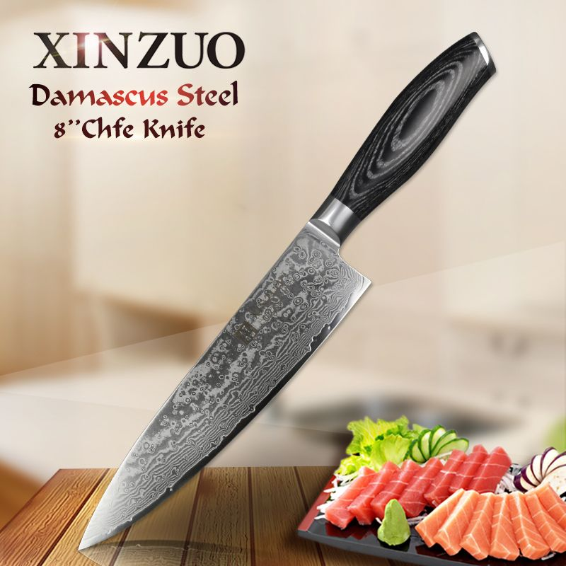XINZUO 8 inches Chef Knife Gyutou Knife Japanese VG10 Damascus Kitchen Knives Stainless Steel Butcher Knife Pakka wood handle
